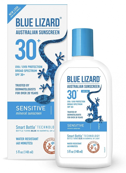 Blue Lizard Sensitive Mineral Sunscreen – No Chemical Actives – SPF 30+ UVA/UVB Protection, 5 oz